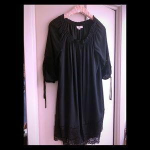 Loft black dress with lace trim